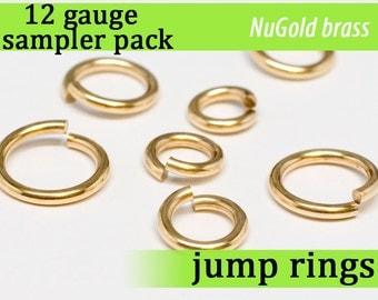 14 pcs 12 gauge jump ring sampler pack NuGold brass 12gsamp 12g assorted jumprings