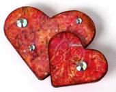Valentine Magnet Double Hearts Refrigerator Magnet Valentine Fridge Magnet Peach Red