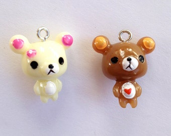 23MM Kuma Bear Charms - Set of 4 in Cream and Brown