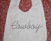 RESERVED for janealwebstercimino Cowboy baby bib