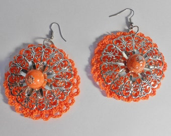 Orange Crochet Earrings-Silvertone Feligree Earrings-Orange Beaded Earrings