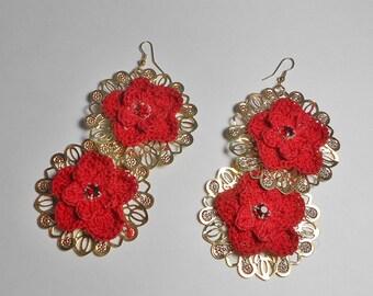 Red Earrings-Red Crochet Earrings-Gold Crochet Earrings-Hook Earrings-Red Dangle Earrings-Red Flower-Red Crystal Earrings