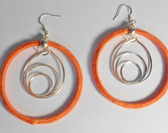 Crochet Orange Silver Colored Hoop Earrings-Dangle Earrings