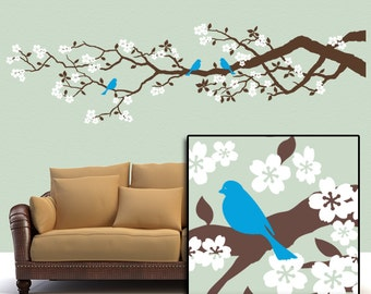 Vinyl Wall Decal: 7 Ft Cherry Tree Branch with Blue Birds and White Flowers, Woodland Nursery Decor