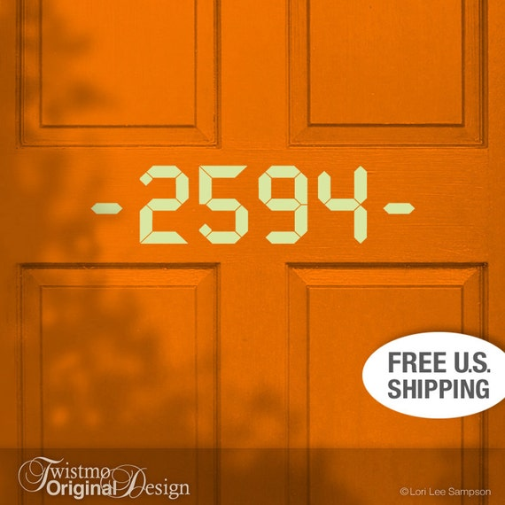 Unique House Numbers Custom Removable Vinyl Door Decal By