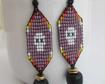 Beaded Lavender Mexican Calavera Skull Dangle Earrings, Bronze, Silver, and Jade