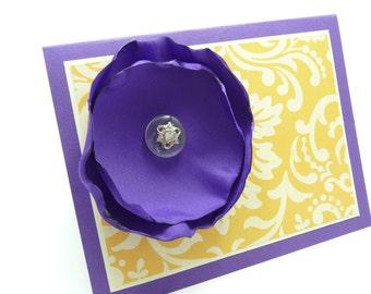 Classy Wedding Card, Anniversary Card, Bridal Shower Card, Handmade Paper Greeting Card, Fabric Flower Card