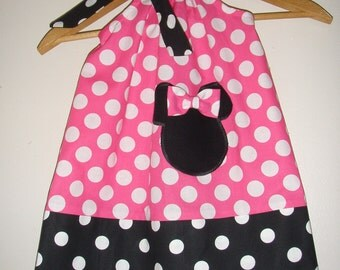 Minnie Mouse dress pink polka dots pillowcase dress with applique 369 & Star Wars dress Darth Vader dress RED pillowcase dress pillowsntoast.com