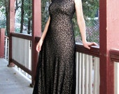 Vintage dress Black lace Leaves over flesh color lining Evening LOVELY Maxi length