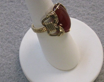 Carnellian and Goldfilled Wire Ring