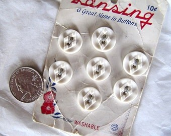 15mm Vintage Buttons White Plastic Diamond Center, 7 Buttons, 9/16 inch, - NOS on original Lansing Card