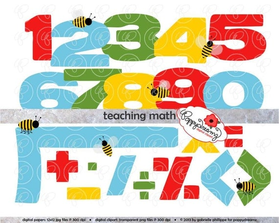 Teaching Math Clipart Set -  300 dpi  School Teacher Clip Art Numbers    Teaching Math Clip Art