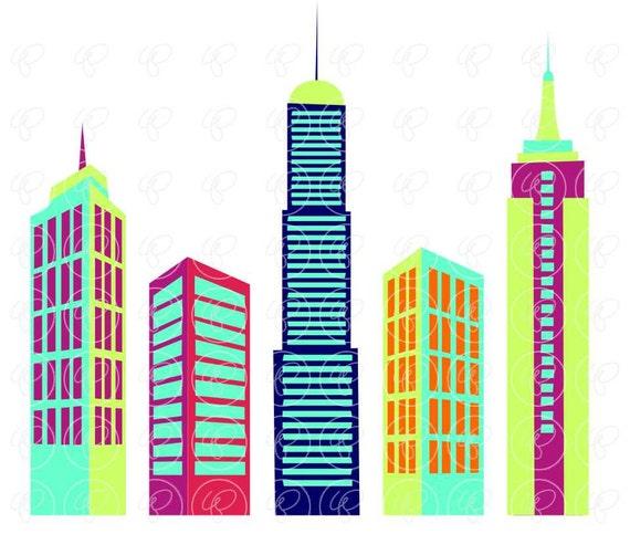 big city digital skyscraper clip art: skyscrapers tall
