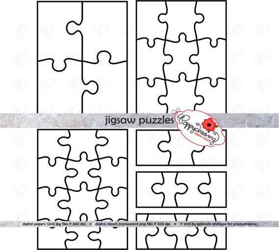 Jigsaw Puzzle Template Pdf And Clipart Set  300 Dpi School