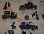 vintage 1960s fabric featuring old fashioned cars with ladies and gentleman - one yard