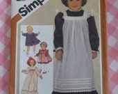 Simplicity Pattern 6184 Toddler Girls Dress & Pinafore in Two Lengths Size 2 Vintage 1980s Sewing Cut/Complete