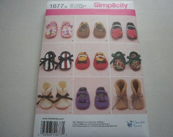 Pattern Baby Shoes and Booties S-M-L Simplicity 1677