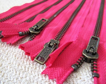 10inch - Fuchsia Pink Metal Zipper - Brass Teeth - 5pcs