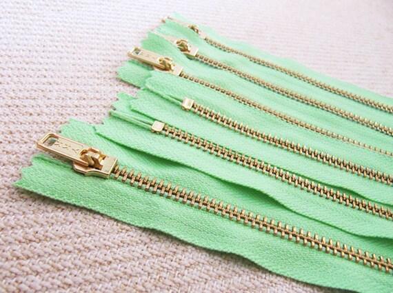 5inch - Mint Green Metal Zipper - Gold Teeth