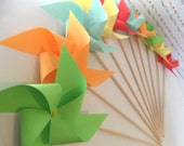 Paper Pinwheels Solid Colors Custom Made Paper Pinwheel Set of 12 birthday favors party decoration baby shower favors table centerpiece
