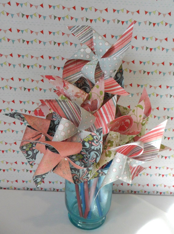 Pinwheels in Botanical and Vintage Designs Set of 12 Pinwheels Perfect for or a Birthday Party or a Baby Shower or a Bat Mitzvah or Wedding