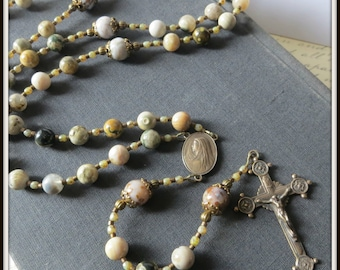 Large Catholic Rosary for Men in Ocean Jasper & Bronze