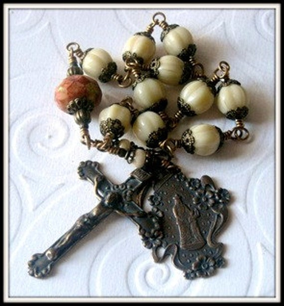 Bronze St. Anne Rosary for Women, Single Decade Wire Wrapped Unbreakable Heirloom Quality Rosary