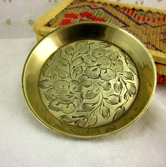 Custom Made Sossi Jewelry Home: Vintage Small Carved Brass Dish From India Jewelry Tray