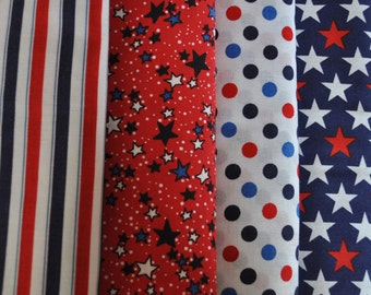 Red, White and Blue Stars, Stripes and Dots 4 Half Yard Cuts, 2 yards total