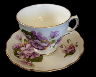 Violets Galore, on a Royal Vale Fine China Cup and Saucer -- Serve Coffee or Tea with a Touch of Elegance