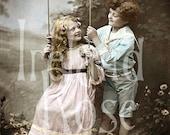Viola and Ernest-Children on Swing-Vintage Postcard-Digital Download