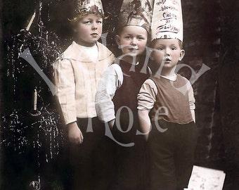 Three Little Boys-Christmas Hats-Digital Image Download