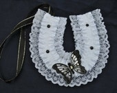 wedding bridal horseshoe charm white satin, black and white  lace Lucky horse shoe with glitter butterfly