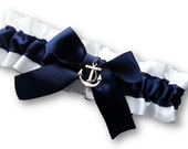 Wedding Garter SINGLE or SET , beautiful  navy and white Nautical themed garter, gold or silver anchor