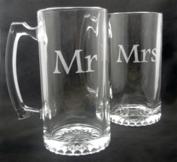 Etched Mr and Mrs Beer Mug Set of Two