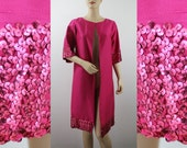 "1960s Cocktail Coat : Fabulous Fuchsia Silk Shantung - Stunning Sequined Cuffs Hem - Hollywood Glam - up to 40"" Bust"
