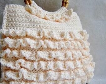 Crochet Purse, Ruffle Purse, Crochet Handbag, Bamboo Handle - You Choose Color. The Madison Ruffle Bag