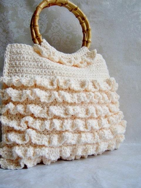 Crochet Purse Ruffle Purse Crochet Handbag Bamboo Handle
