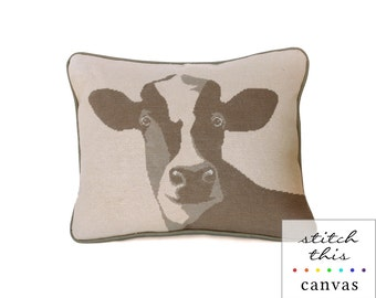 happy cow rustic modern needlepoint canvas - diy - contemporary