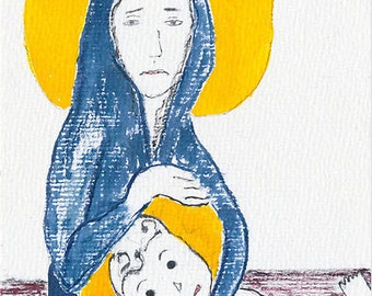 Grief. Loss of child. Loss of baby. Miscarriage. Baby Loss. ACEO art print  - Virgin Mary's missed abortion