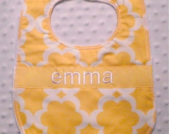 Personalized Bib - Baby Girl Bib Yellow Flowers