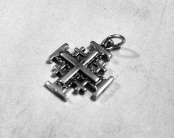 Sterling Silver Solid 925 Pendant Jerusalem Cross New