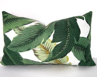 Designer Pillow Cover - Banana Leaf - Lumbar Pillow Tropical Palm Leaves - Accent Pillow - Toss Pillow - Throw Pillow