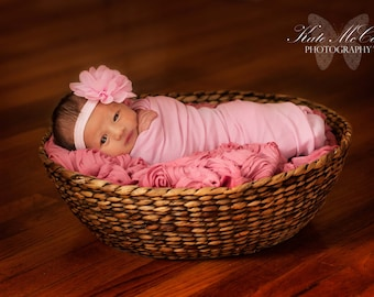 Baby headband,pink baby girl headband,  infant headband, newborn headband, light pink chiffon flower headband, photo prop,