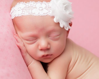 WHITE baby headband, newborn headband, infant headband, photo prop, white shabby flower headband