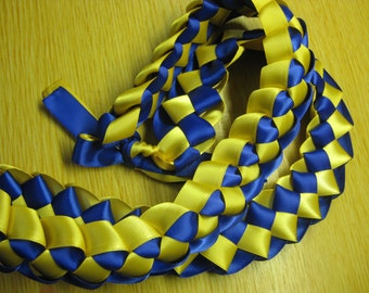 Ribbon Lei - Braided Necklace - Graduation, Weddings, Birthdays, Parties, Bridal, Special Events - Royal Blue/Yellow