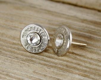 Bullet Stud Earrings / 38 Special Bullet Stud Earrings WIN-38-N-SEAR / Sterling Silver Studs / Custom Bullet Earrings / Birthstone Studs