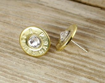 Bullet Earrings / 44 Magnum Brass Bullet Head Stud Earrings RP-44M-B-SEAR / Bullet Stud Earrings / Stud Earrings / Swarovski Crystal