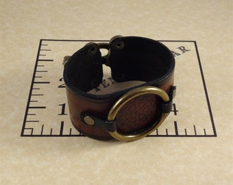Steampunk Leather Bracelet / Bracer with Swing Clasp