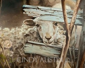 Sheep Painting - Giclee Print of a sweet sheep - KISS MY NOSE